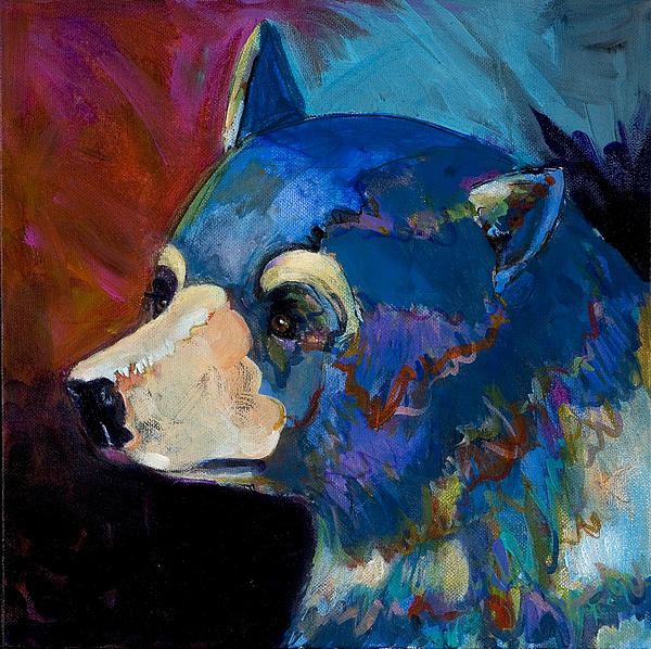 Animal Art Painting - Blue Bear II by Bob Coonts