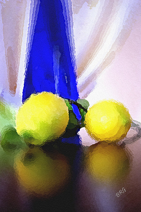 Blue Bottle And Lemons Photograph  - Blue Bottle And Lemons Fine Art Print