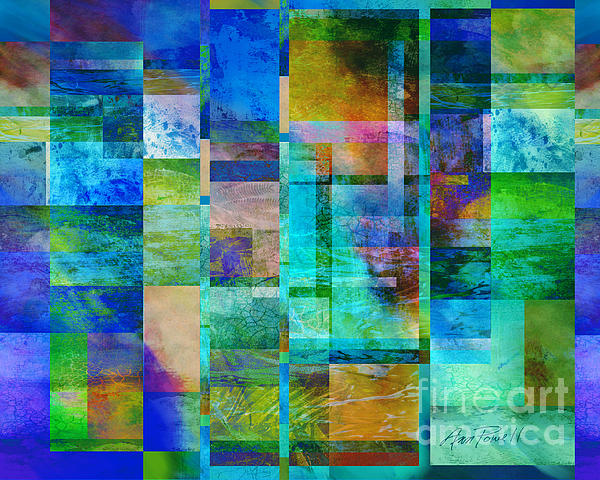 Abstract Digital Art - Blue Squares Abstract Art by Ann Powell