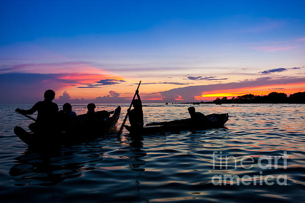 People Photograph - Boat Silhouettes Angkor Cambodia by Fototrav Print