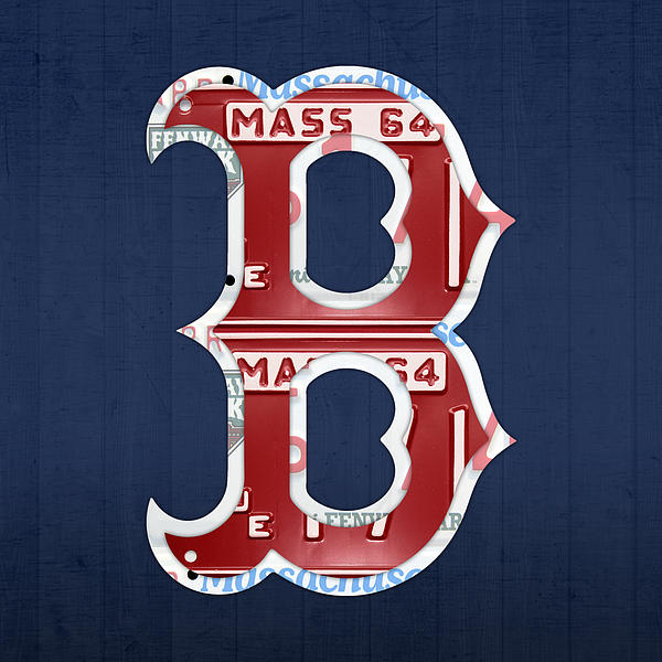 Boston Red Sox Logo Letter B Baseball Team Vintage License Plate Art Mixed Media  - Boston Red Sox Logo Letter B Baseball Team Vintage License Plate Art Fine Art Print
