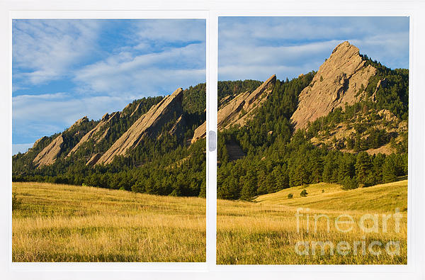 Colorado Photograph - Boulder Colorado Flatirons White Window Frame Scenic View by James BO  Insogna