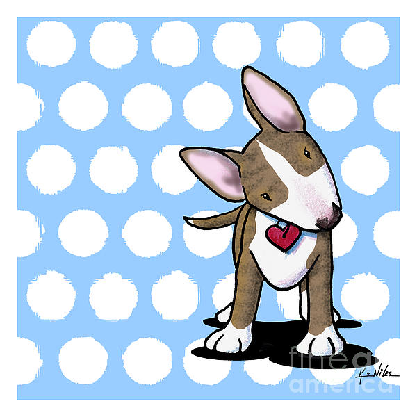 Brindle Bull Terrier Drawing - Brindle Bully On Dotted Blue by Kim Niles