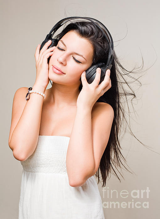 Attractive Photograph - Brunette Immersed In Music Wearing Headphones. by Alstair Thane