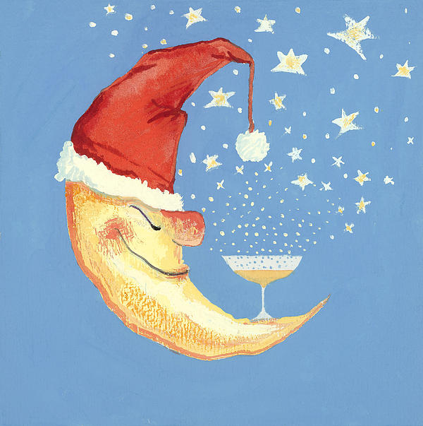 Crescent; Happy; Drinking; Champagne; Christmas Card; Dozing; Drunk; Drunken; Merry; Festive; Contented; Sleeping; Nocturne Painting - Bubbly Christmas Moon by David Cooke