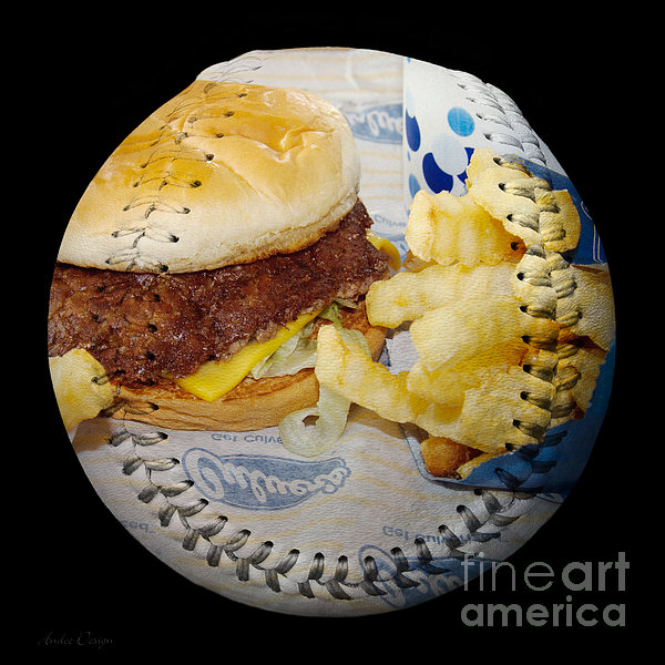 Burger And Fries Baseball Square Photograph  - Burger And Fries Baseball Square Fine Art Print