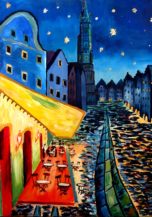 Cafe Terrace In Landshut - Inspired By Van Gogh Painting