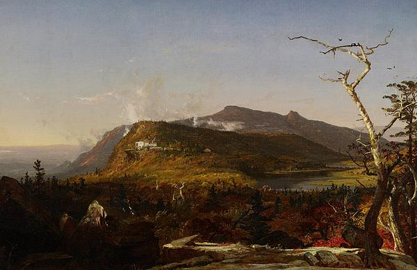 Hudson River School; Catskill Mountain House; South Mountain; New York State; Ny; America; American; Us; Usa; United States; Landscape; View; Vista; Rural; Countryside; Nature; Natural; Mountain; Mountains; Mountainous; Hilly; Hillside; Lake; Tree; Trees; Clouds; Architecture; Exterior; Hotel Painting - Catskill Mountain House by Jasper Francis Cropsey