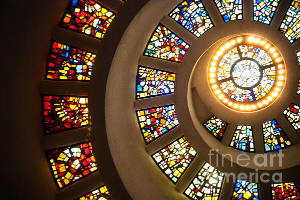 Stained Glass Photograph - Chapel Of Thanksgiving Dallas by Sonja Quintero