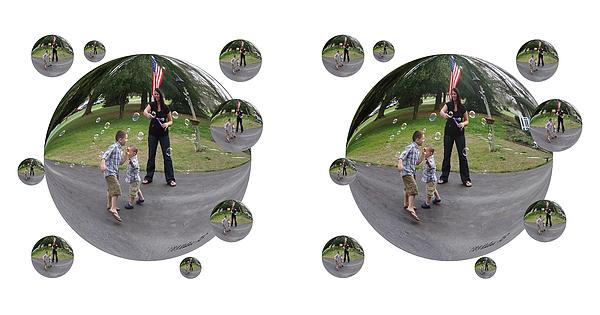 3d Photograph - Chasing Bubbles - Cross Your Eyes And Focus On The Middle Image That Appears by Brian Wallace