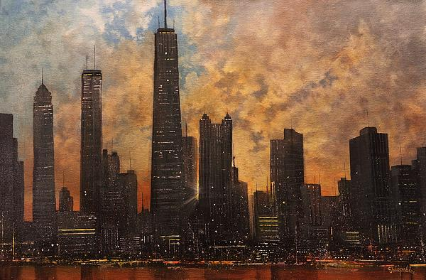 Tom Shropshire - Chicago Skyline Silhouette