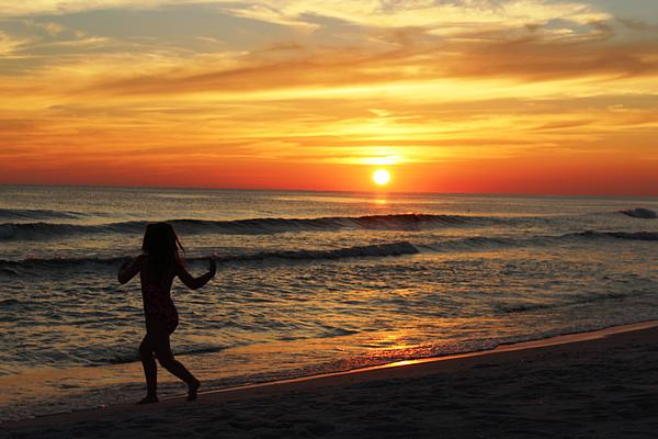 Child Running On Beach At Sunset Photograph  - Child Running On Beach At Sunset Fine Art Print