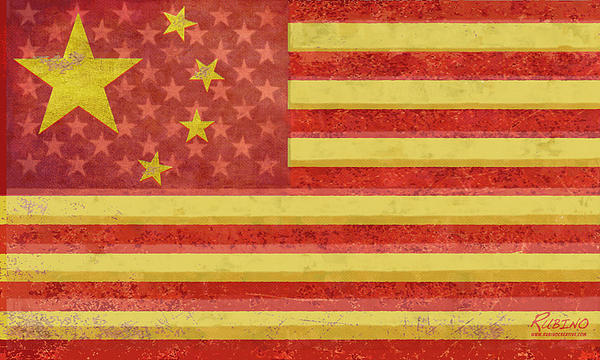 Chinese American Flag Blend Painting  - Chinese American Flag Blend Fine Art Print