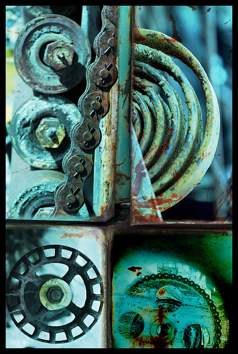 Abstract Photograph - Circle Collage In Blue by Fran Riley