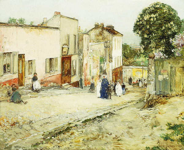 African-american; American Impressionism;impressionist; Attire; Blue; Boys; Building Exterior; Caucasian; Caucasian Ethnicity; Children; Town Life; Clothes; Clothing; Community; Color; Countryside; Daytime;deterioration; Disrepair; Ethnic Origin; Exterior Painting - Confirmation Day by Childe Hassam