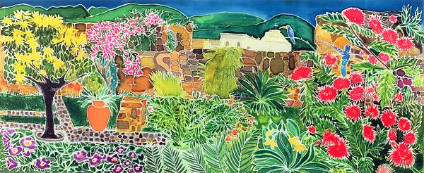 Tropical; Guatemala; Humming Bird; Pot Painting - Convent Gardens Antigua by Hilary Simon