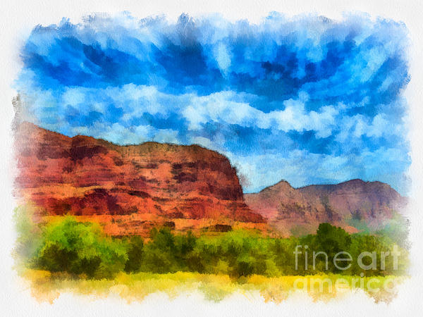 Arid Climate Digital Art - Courthouse Butte Sedona Arizona by Amy Cicconi