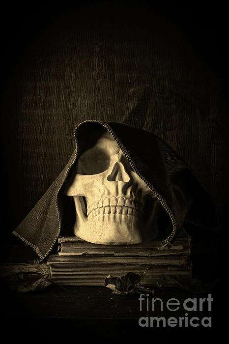 Creepy Hooded Skull Photograph  - Creepy Hooded Skull Fine Art Print