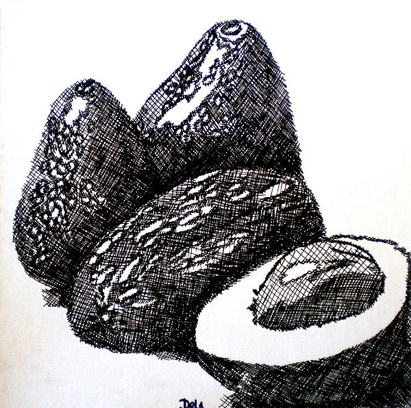 Avocados Painting - Crosshatched Avocados by Debi Starr
