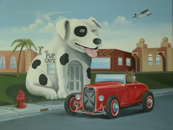 Cruisin At The Pup Cafe Painting