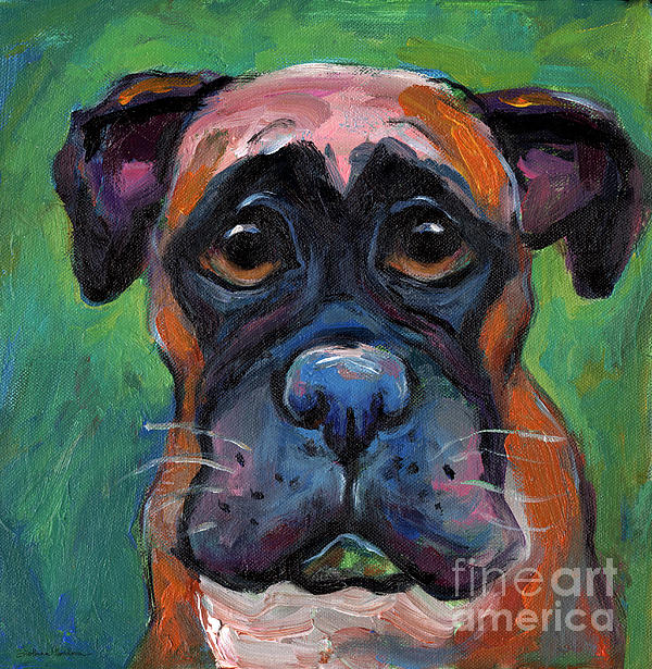 Cute boxer puppy dog with big eyes painting painting by for Dog painting artist