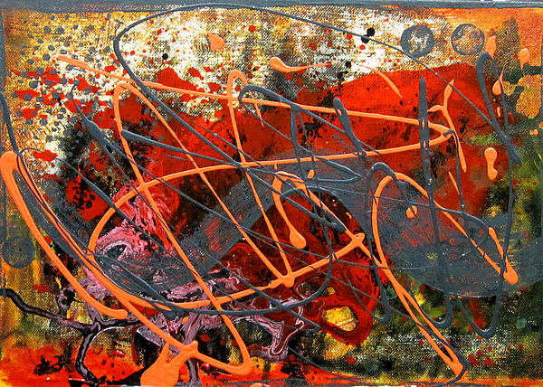 Abstract Painting Painting - Dance With Dragons by Leon Zernitsky