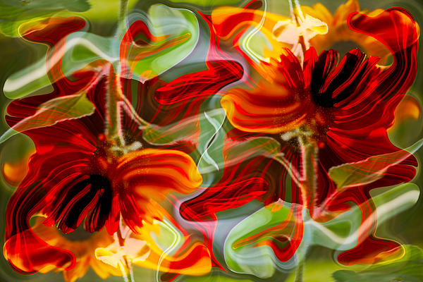 Dancing Flowers Painting  - Dancing Flowers Fine Art Print