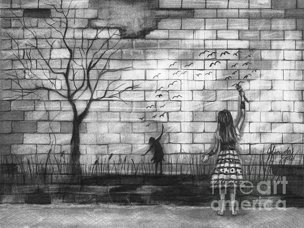 Brick Wall Drawing - Dare To Be by J Ferwerda