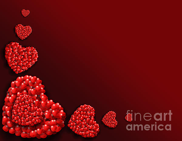 Wallpaper Digital Art - Decoration Of Heart Shaped Hearts by Kiril Stanchev