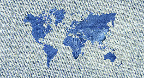 Denim World Map Digital Art  - Denim World Map Fine Art Print