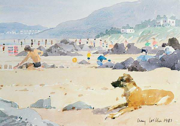 Sandcastle; Coast; Rocks; Seaside Resort Painting - Dog On The Beach Woolacombe by Lucy Willis