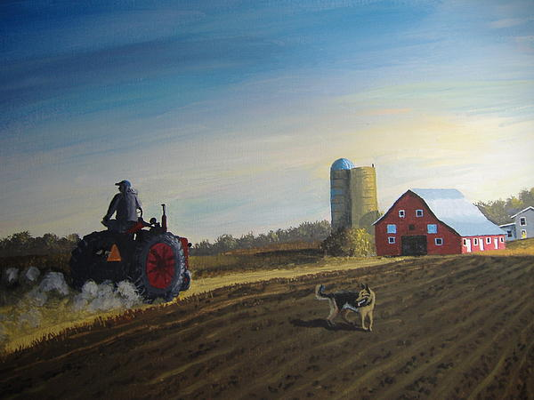 Tractor Painting - Done For The Day by Norm Starks