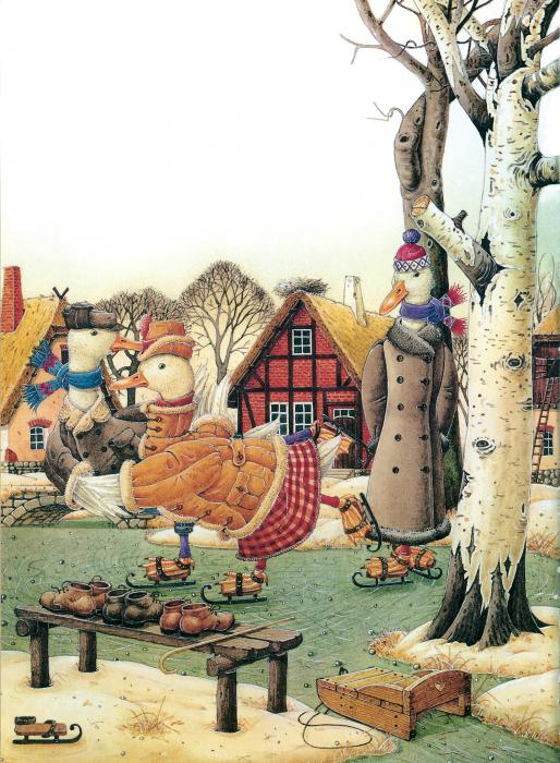 Christmas Winter Duck Greeting Cards Ice White Holiday Painting - Ducks On Skates by Kestutis Kasparavicius