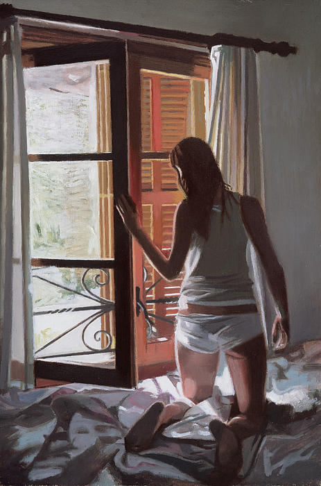 Majorca; Interior; Bedroom; Bed; Waking Up; Female; Underwear; Back View; Window; Awakening; Getting Up; Dressing; Summer; Curtain Painting - Early Morning Villa Mallorca by Gillian Furlong