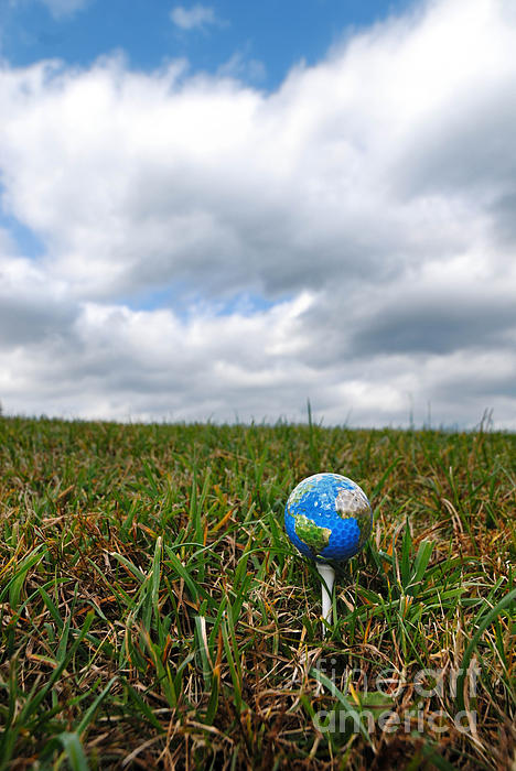 Cartography Photograph - Earth Golf Ball On Tee by Amy Cicconi