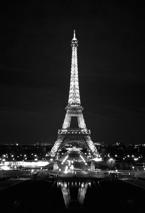 Eiffel tower in black and white greeting card for sale by for Eiffel tower mural black and white