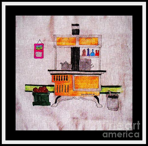 Enterprise Woodstove - Yellow Digital Art  - Enterprise Woodstove - Yellow Fine Art Print