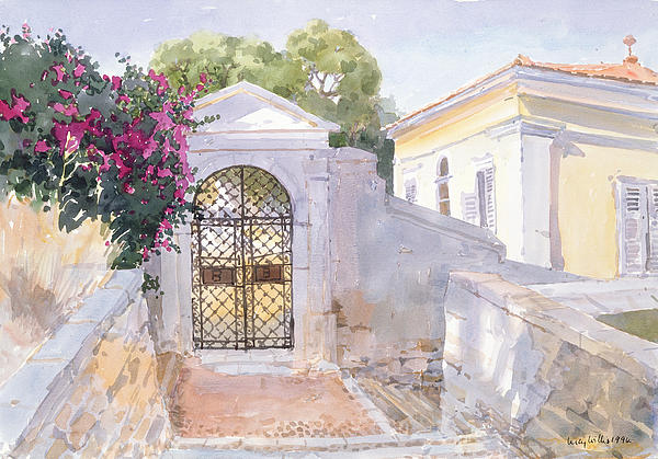 Buildings; Iron; Gate; House; Blossom; Trees; Shutters; Mediterranean; Wrought Painting - Evening Hroussa by Lucy Willis