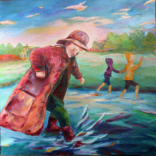 Kids Are Exploring One Big Water Puddle After A Big Summer Rain! Painting - Exploring Puddles by Naomi Gerrard