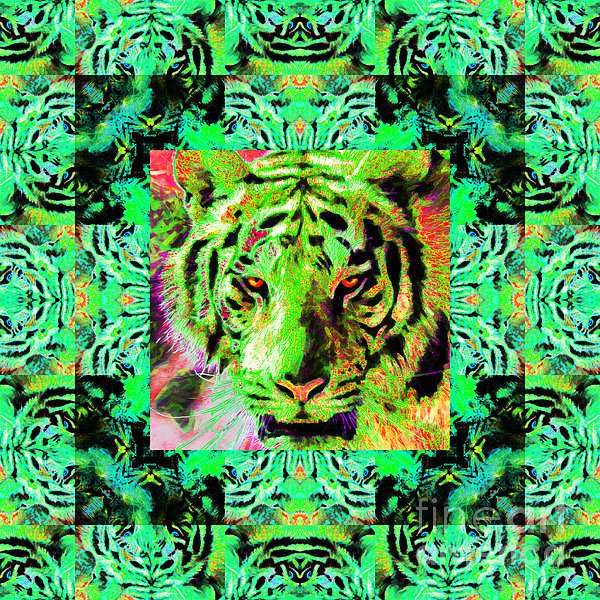 Tiger Photograph - Eyes Of The Bengal Tiger Abstract Window 20130205m180 by Wingsdomain Art and Photography