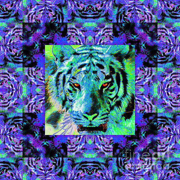 Tiger Photograph - Eyes Of The Bengal Tiger Abstract Window 20130205m80 by Wingsdomain Art and Photography