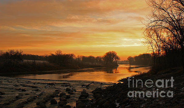 Red River Photograph - Fall Sunrise On The Red River by Steve Augustin