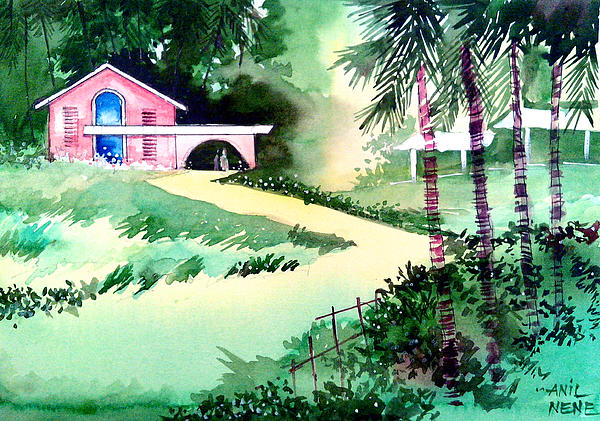 Valentine Painting - Farm House New by Anil Nene