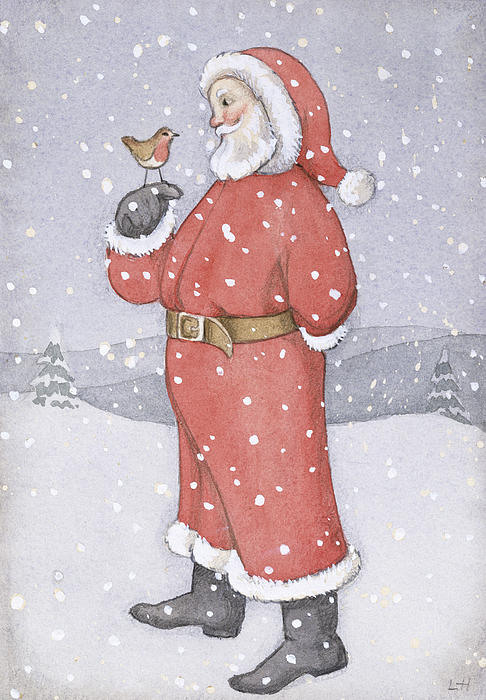 Santa Painting - Father Christmas And A Robin by Lavinia Hamer