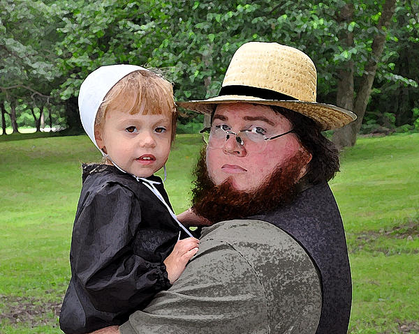 Amish Photograph - Father Daughter Time by Brian Graybill