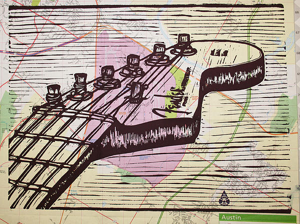 Fender Drawing - Fender Strat On Map by William Cauthern