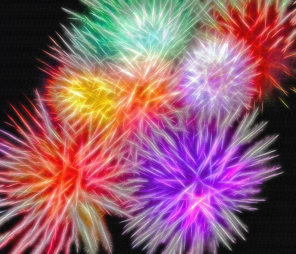 Fire Mums - Fireworks Collage 2 Photograph  - Fire Mums - Fireworks Collage 2 Fine Art Print