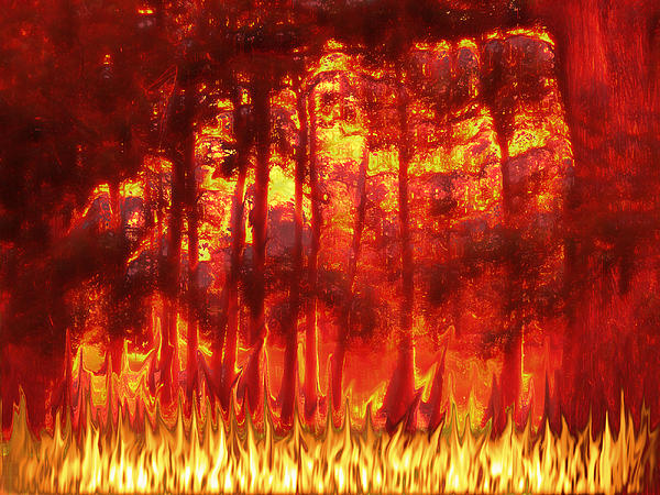 Photo-manipulation Digital Art - Fireline by Wendy J St Christopher