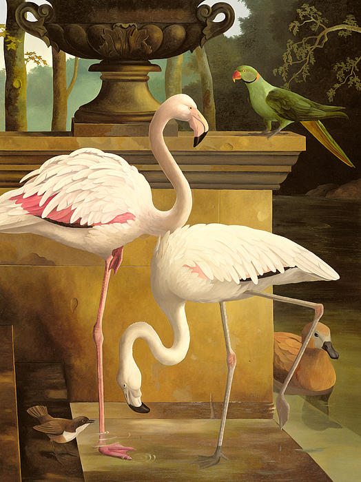 Flamingo; Birds; Parakeet; Duck; Formal Garden; Pool Painting - Flamingos by Lizzie Riches