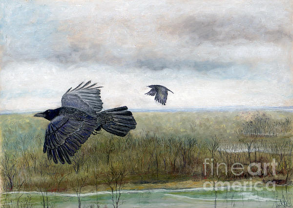Crow Painting - Flying To The Roost by Barb Kirpluk